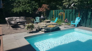Pool setting with outdoor seating and fire pit